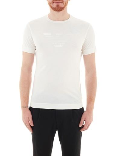 Emporio Armani  Baskılı Bisiklet Yaka % 100 Pamuk T Shirt Erkek T Shırt 3K1Te6 1Jshz 0101 Beyaz